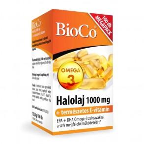 BIOCO OMEGA-3 HALOLAJ 1000 MG - TERMÉSZETES E-VITAMINNAL - LÁGYZSELATIN-KAPSZULA - 100X