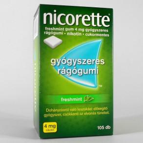 NICORETTE FRESHMINT GUM 4 MG GYÓGYSZERES RÁGÓGUMI - 105X
