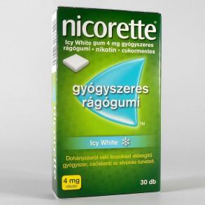 NICORETTE ICY WHITE GUM 4MG GYÓGYSZERES RÁGÓGUMI - 30X BUB