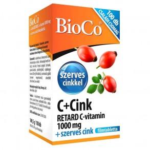 BIOCO C+CINK RETARD C-VITAMIN 1000 MG + SZERVES CINK FILMTABLETTA - 100X