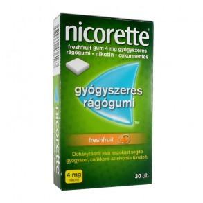 NICORETTE FRESHFRUIT GUM 4 MG GYÓGYSZERES RÁGÓGUMI - 30X